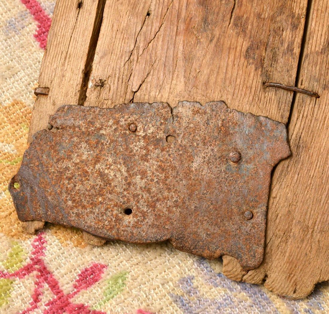 (4) rustic wooden farm shovels, pitch forks - 8