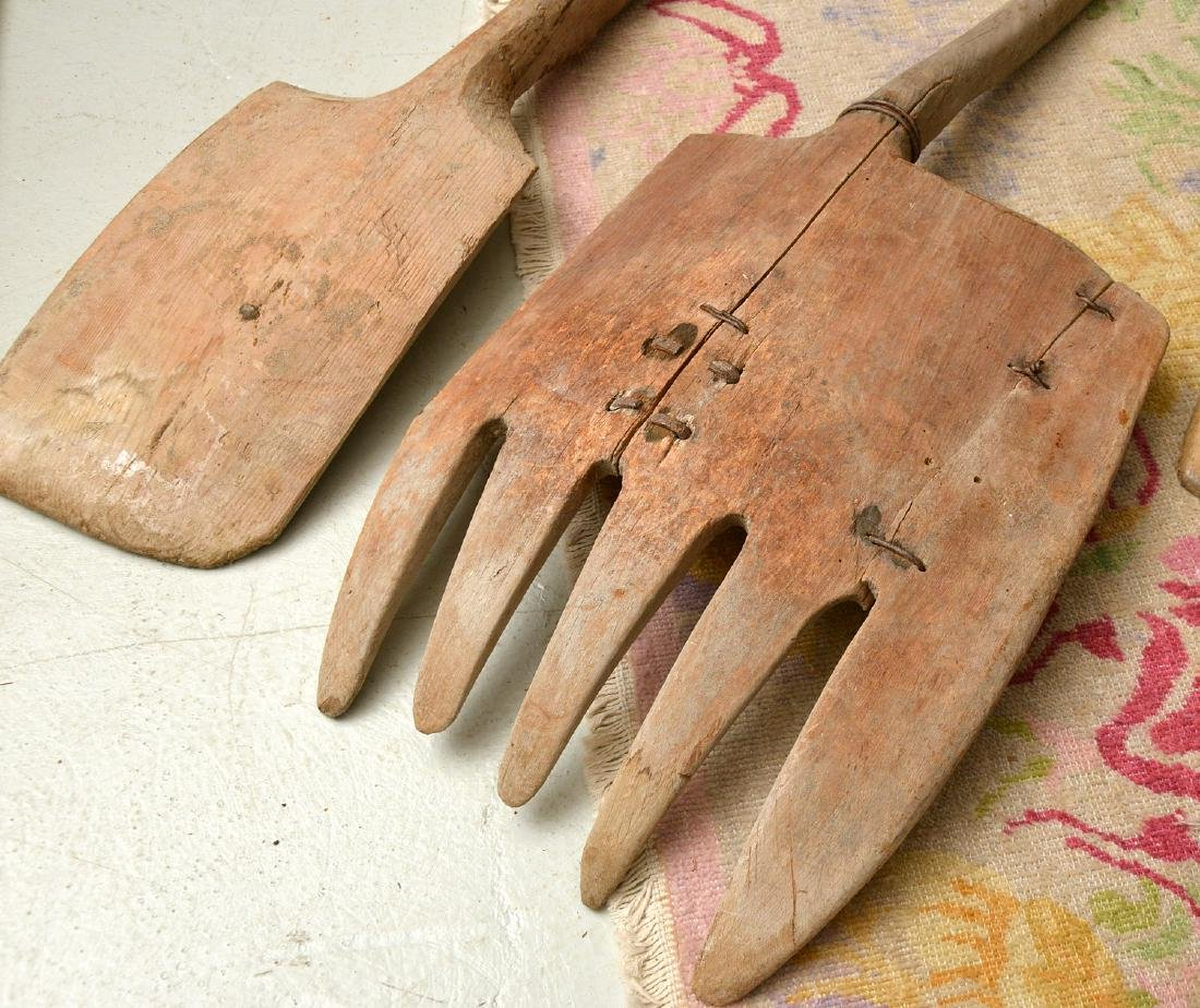 (4) rustic wooden farm shovels, pitch forks - 9