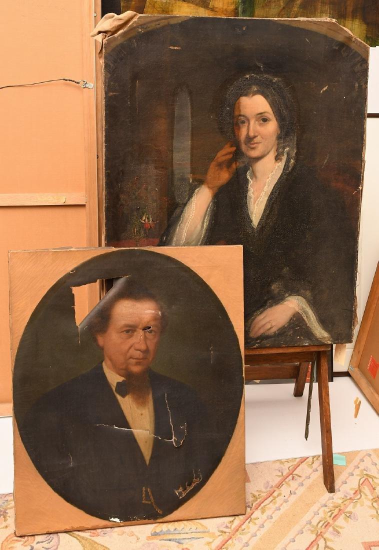 American School, (2) portrait paintings