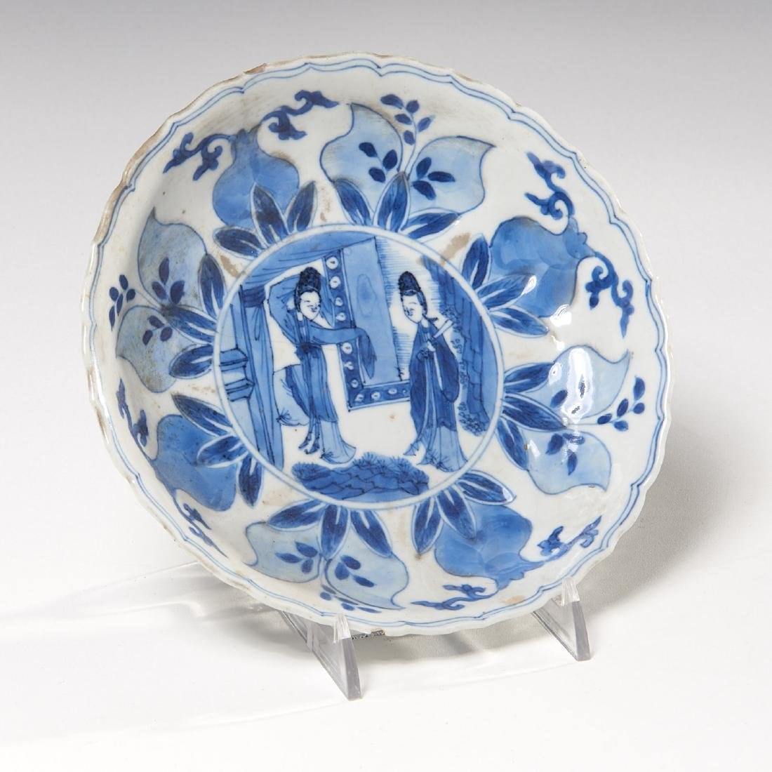 Old Chinese blue and white kraak-ware dish - 2