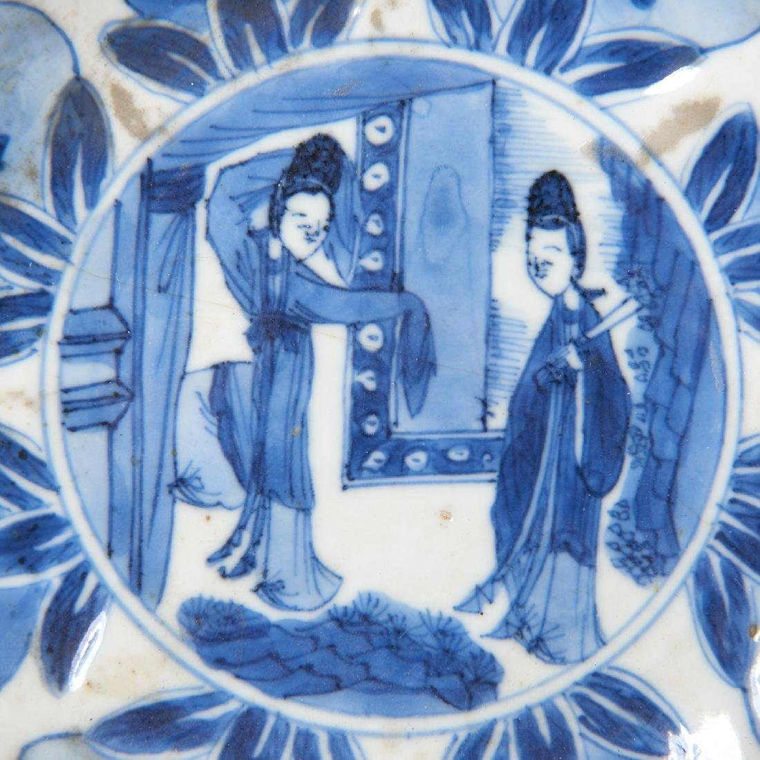 Old Chinese blue and white kraak-ware dish - 4