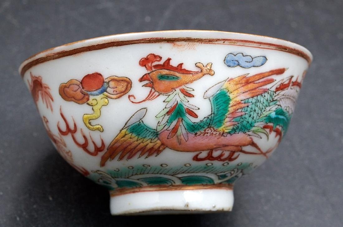 Pair old Chinese dragon and phoenix cups - 3