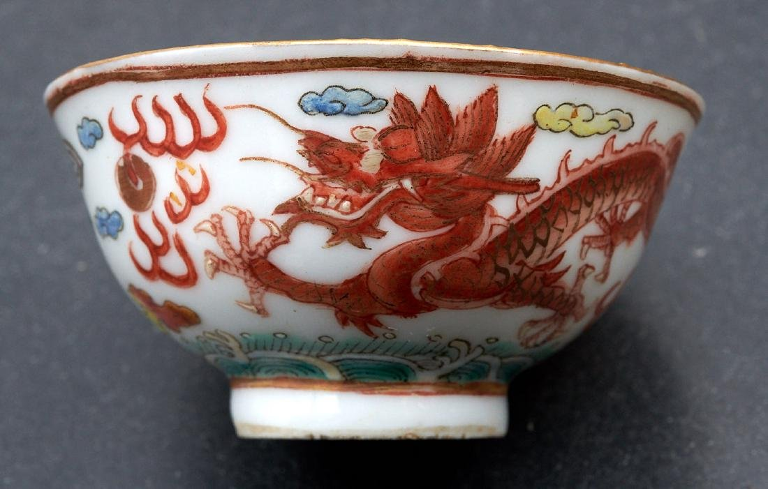 Pair old Chinese dragon and phoenix cups - 4