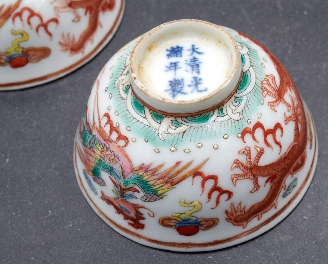 Pair old Chinese dragon and phoenix cups - 6