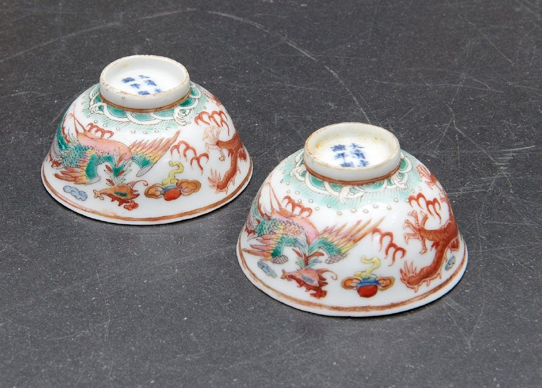 Pair old Chinese dragon and phoenix cups - 7