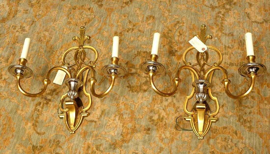Pair Modernist brass, chrome plated sconces