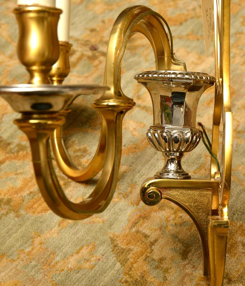 Pair Modernist brass, chrome plated sconces - 5