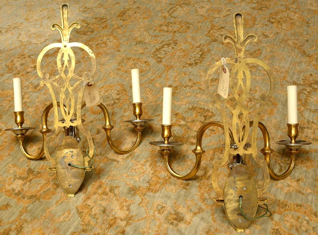 Pair Modernist brass, chrome plated sconces - 6