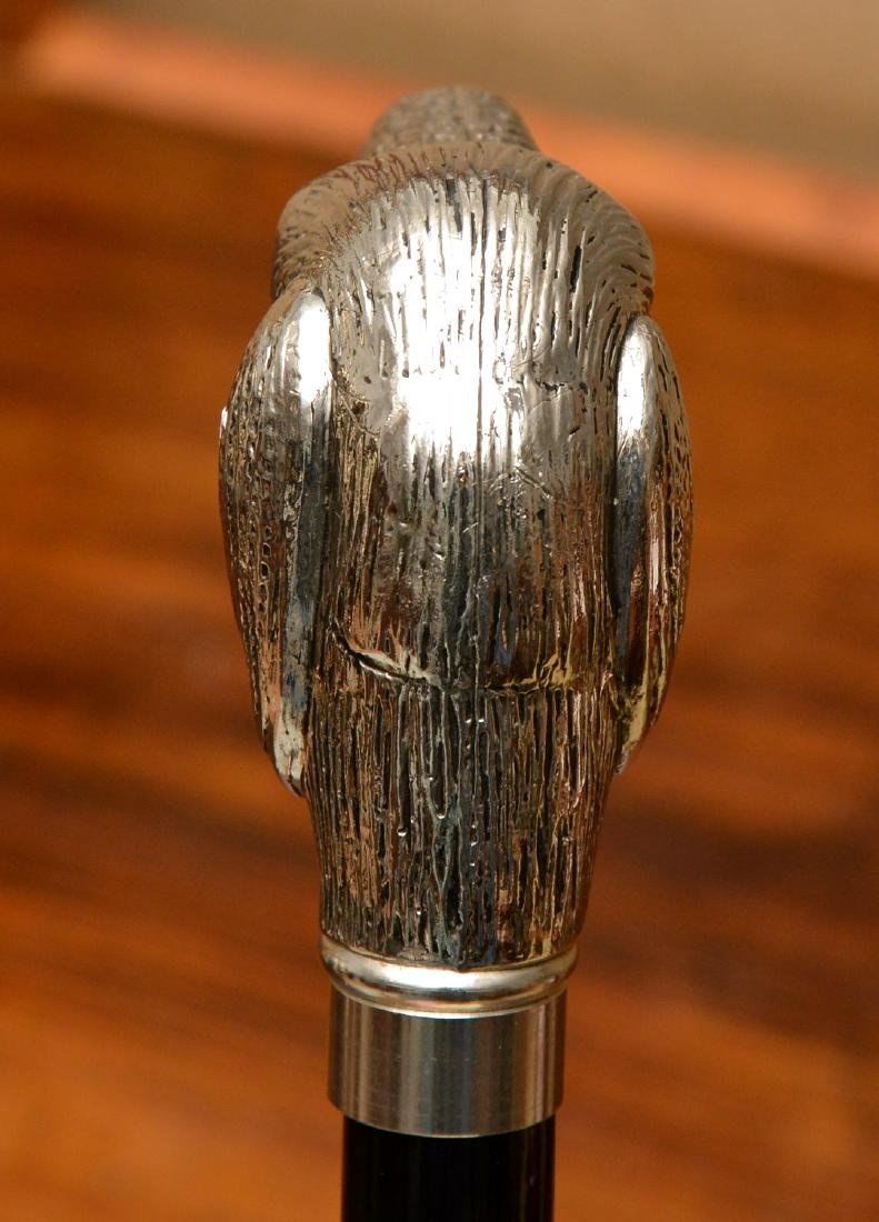 Walking stick with silver plated dog head handle - 5
