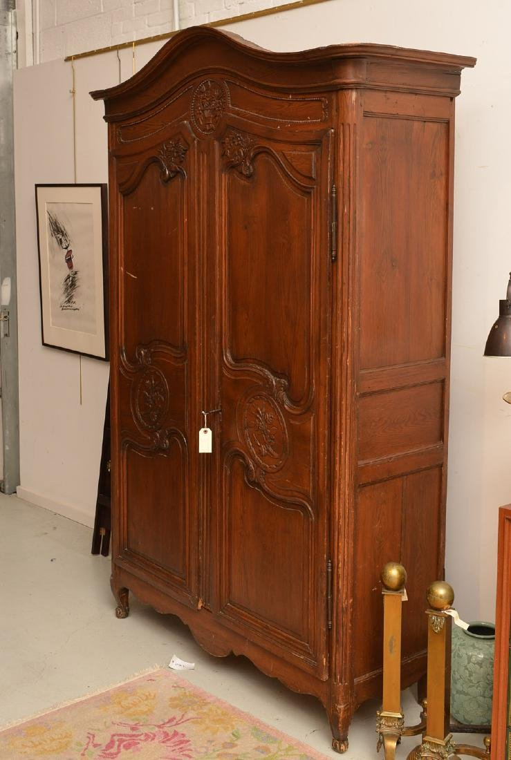 Country French style carved oak armoire - 2
