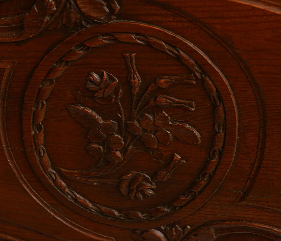 Country French style carved oak armoire - 5