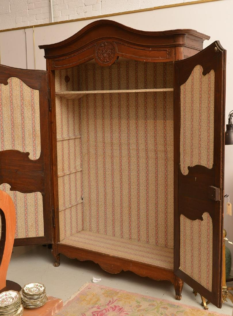 Country French style carved oak armoire - 6