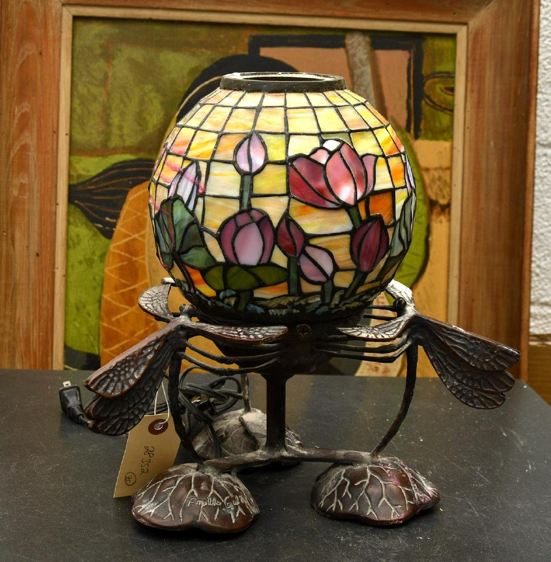 Art Nouveau style dragonfly lamp