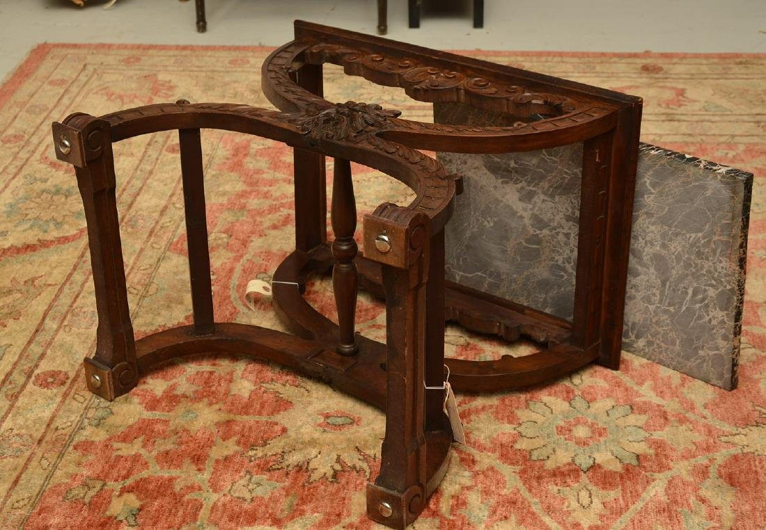 Baroque style marble top carved curule side table - 10