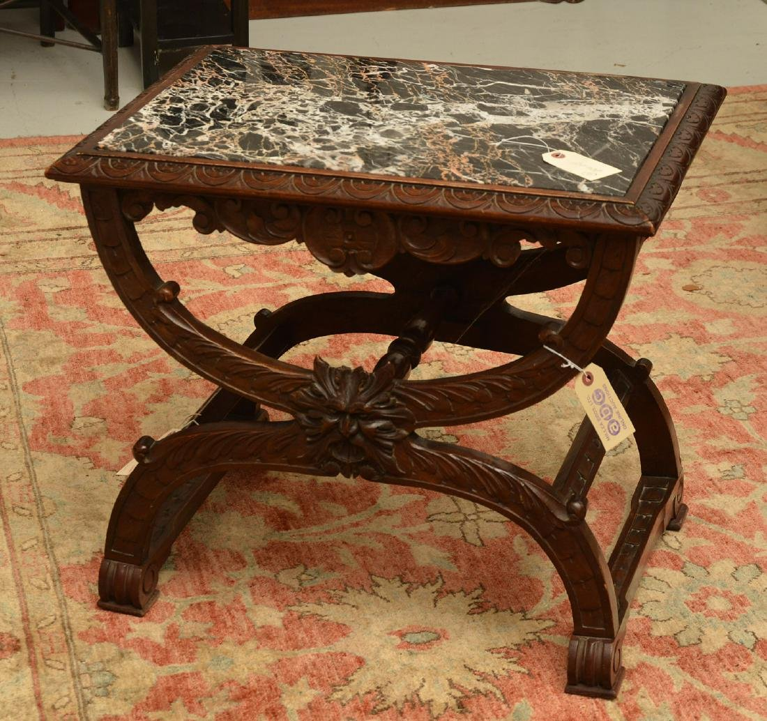 Baroque style marble top carved curule side table