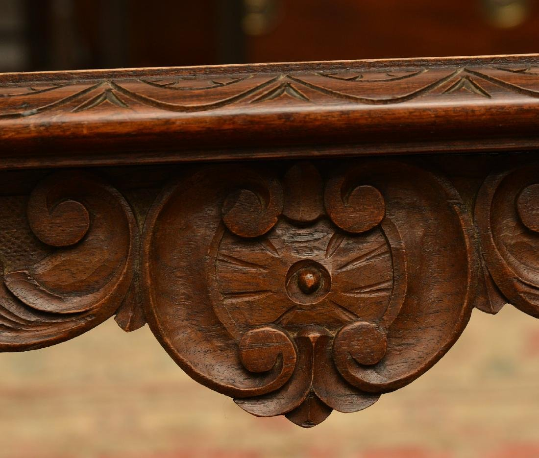 Baroque style marble top carved curule side table - 4