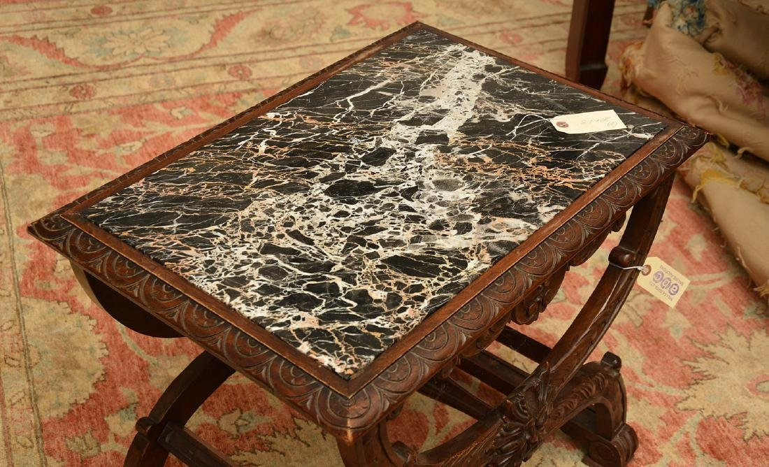Baroque style marble top carved curule side table - 5