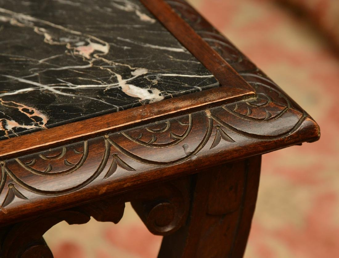 Baroque style marble top carved curule side table - 8