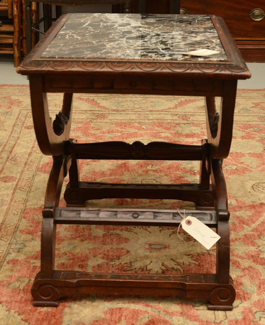 Baroque style marble top carved curule side table - 9