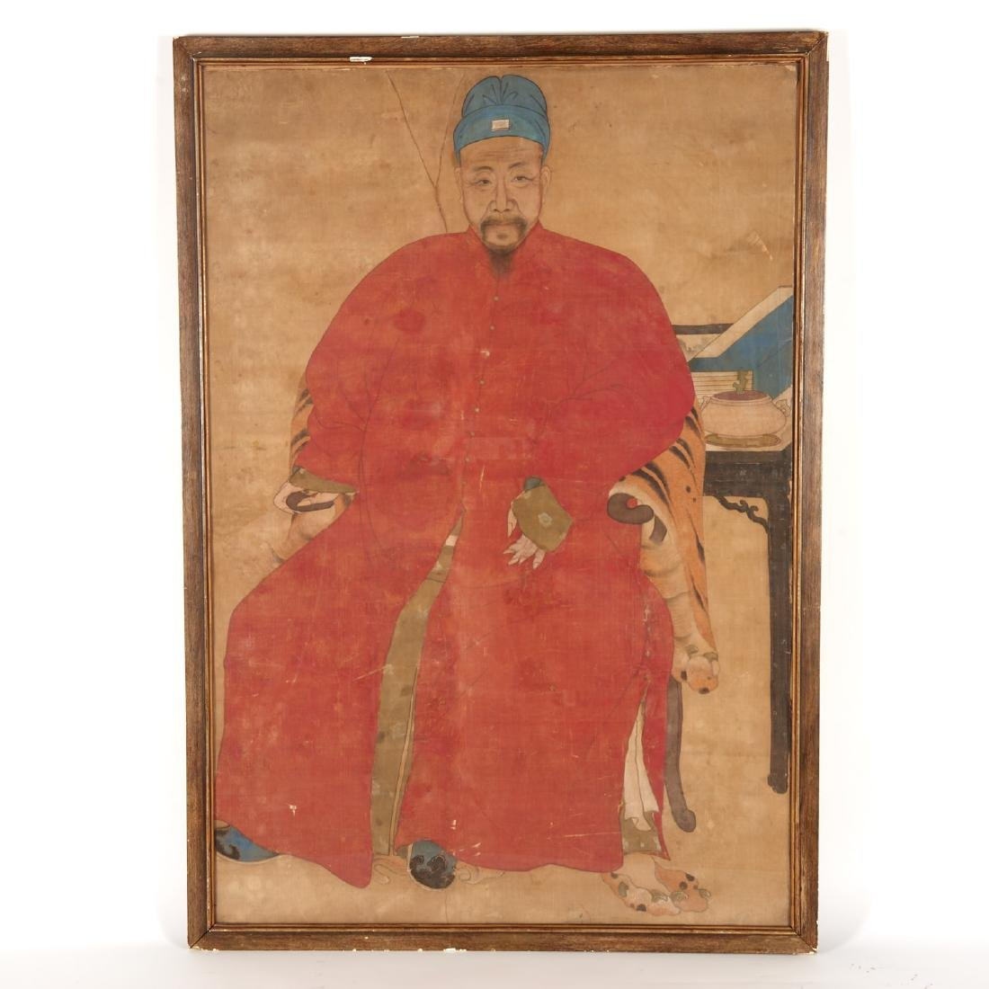 Large antique Chinese or Korean ancestral portrait