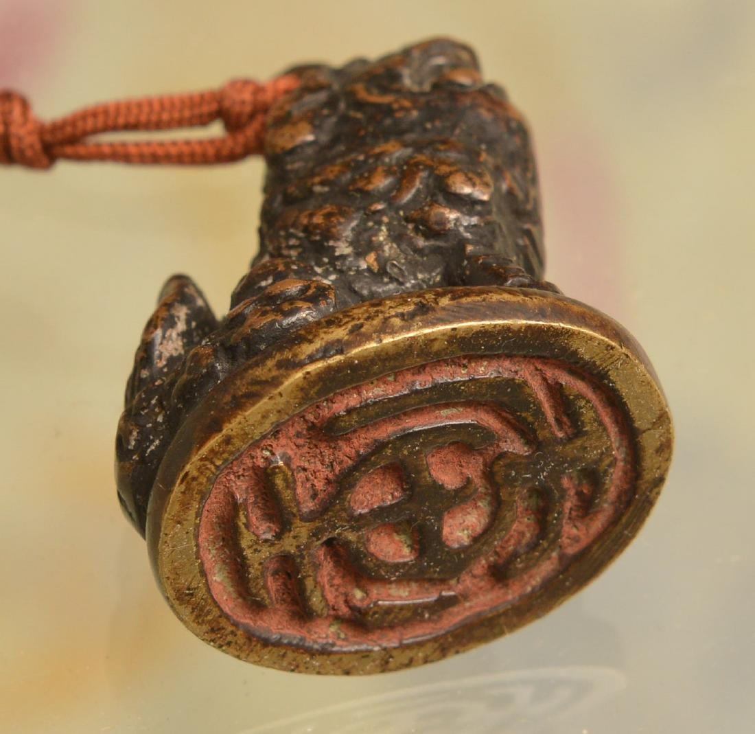 Chinese bronze Buddhist lion seal