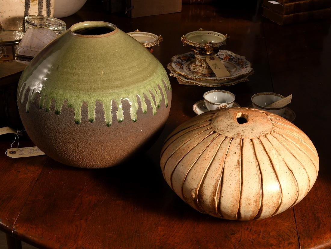 (2) nice Studio pottery vessels