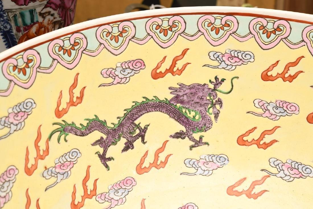 Chinese Famille Jaune dragon center bowl - 2