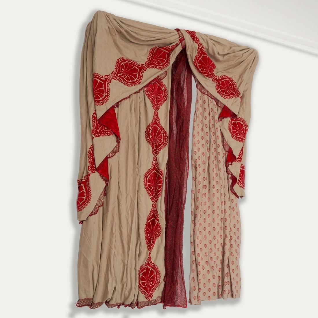 (4) fine drapery panels with cornice