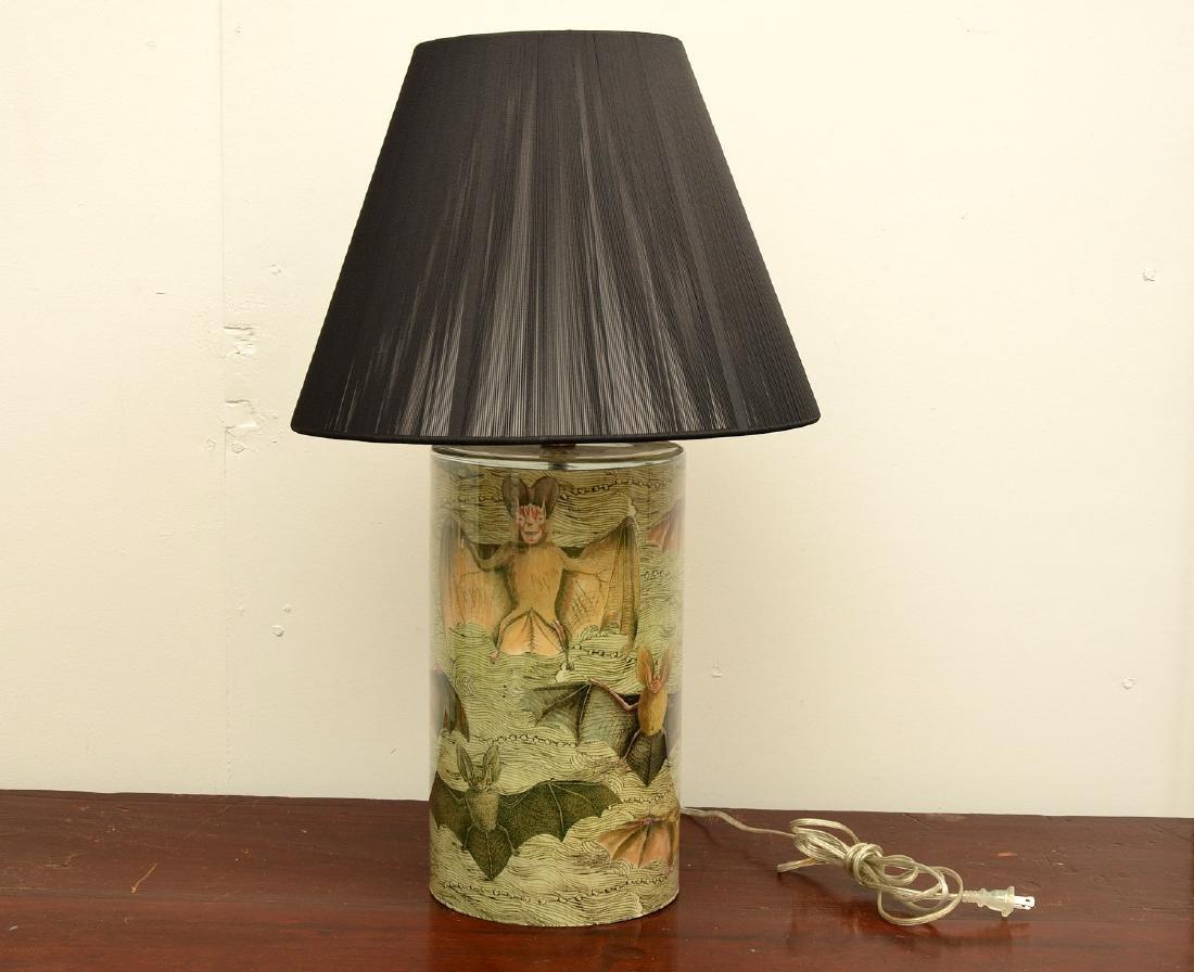 John Derian cylinder bat table lamp