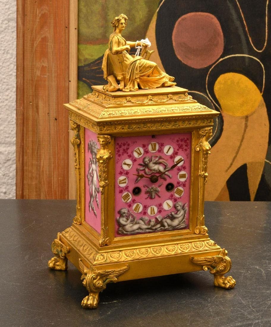 French dore bronze and porcelain figural clock