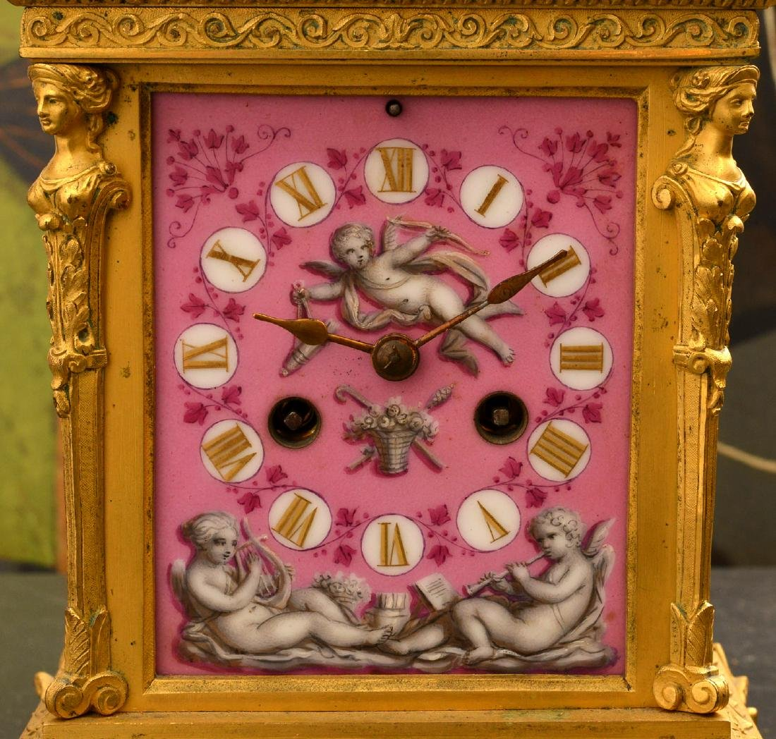 French dore bronze and porcelain figural clock - 2