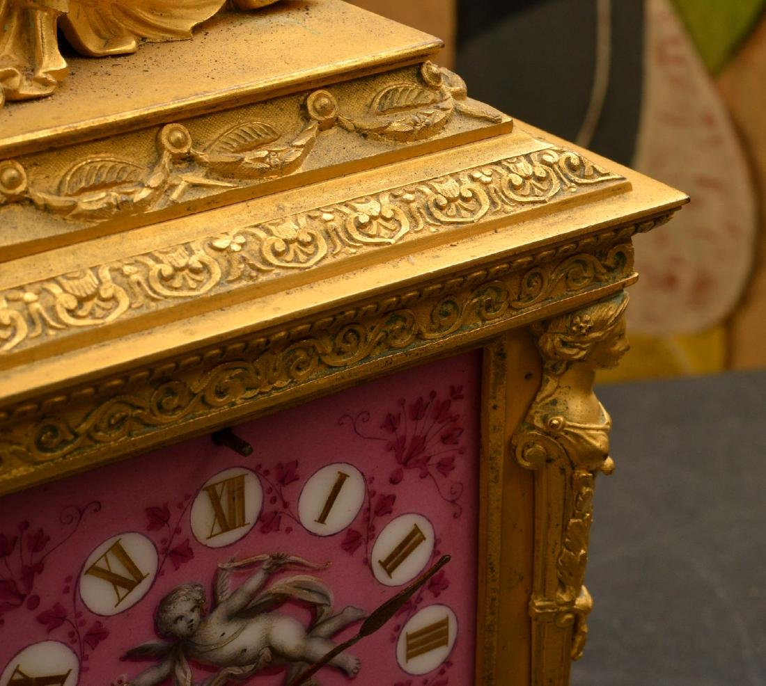 French dore bronze and porcelain figural clock - 4