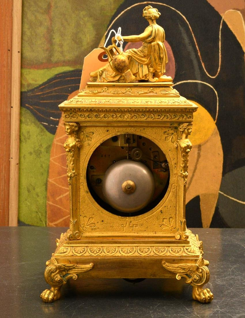 French dore bronze and porcelain figural clock - 7
