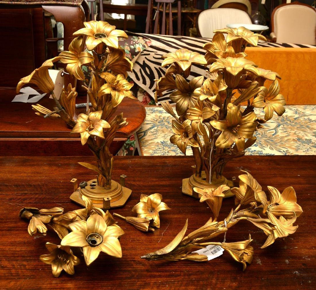 Pair antique gilt bronze floral vase mounts