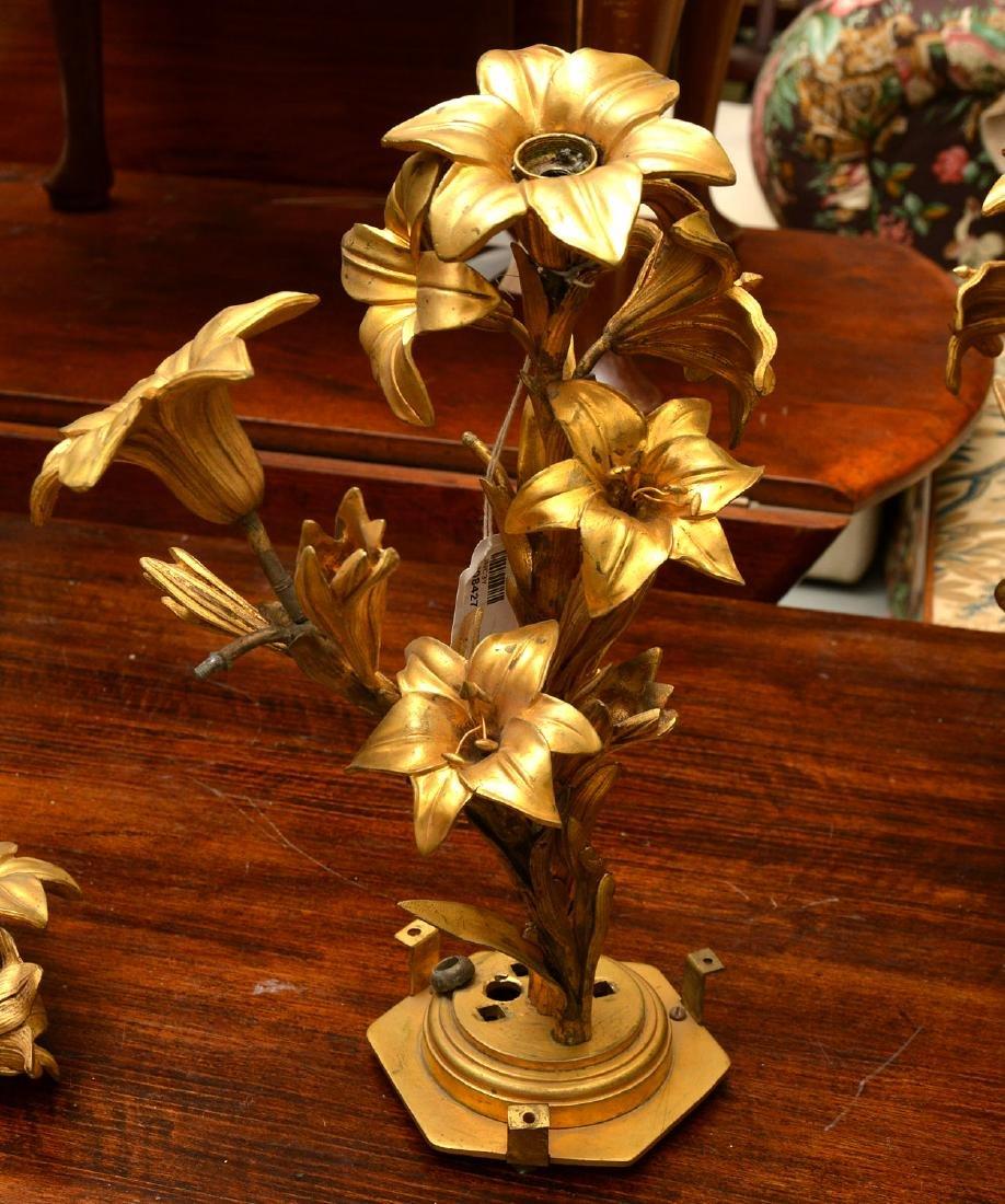 Pair antique gilt bronze floral vase mounts - 2