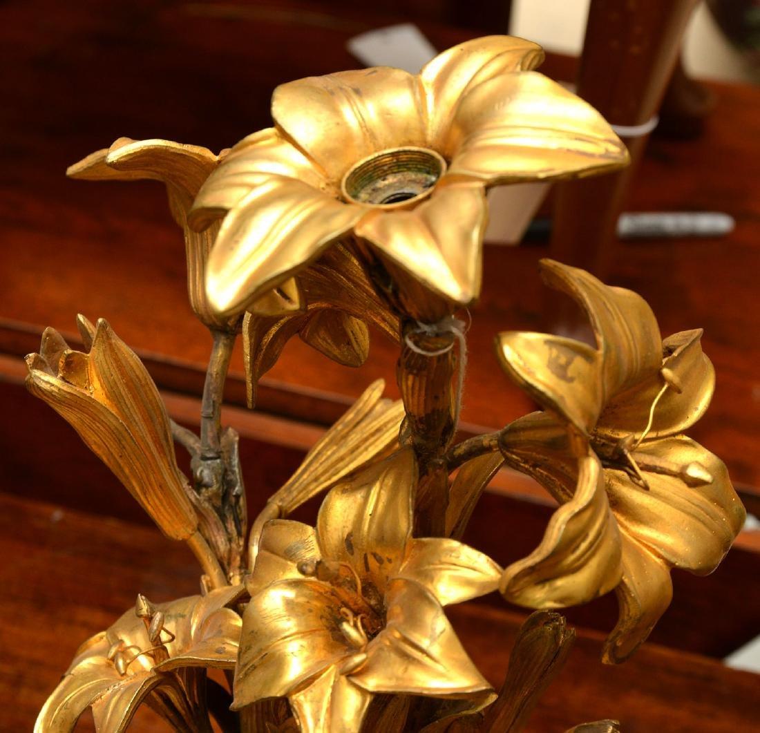 Pair antique gilt bronze floral vase mounts - 4
