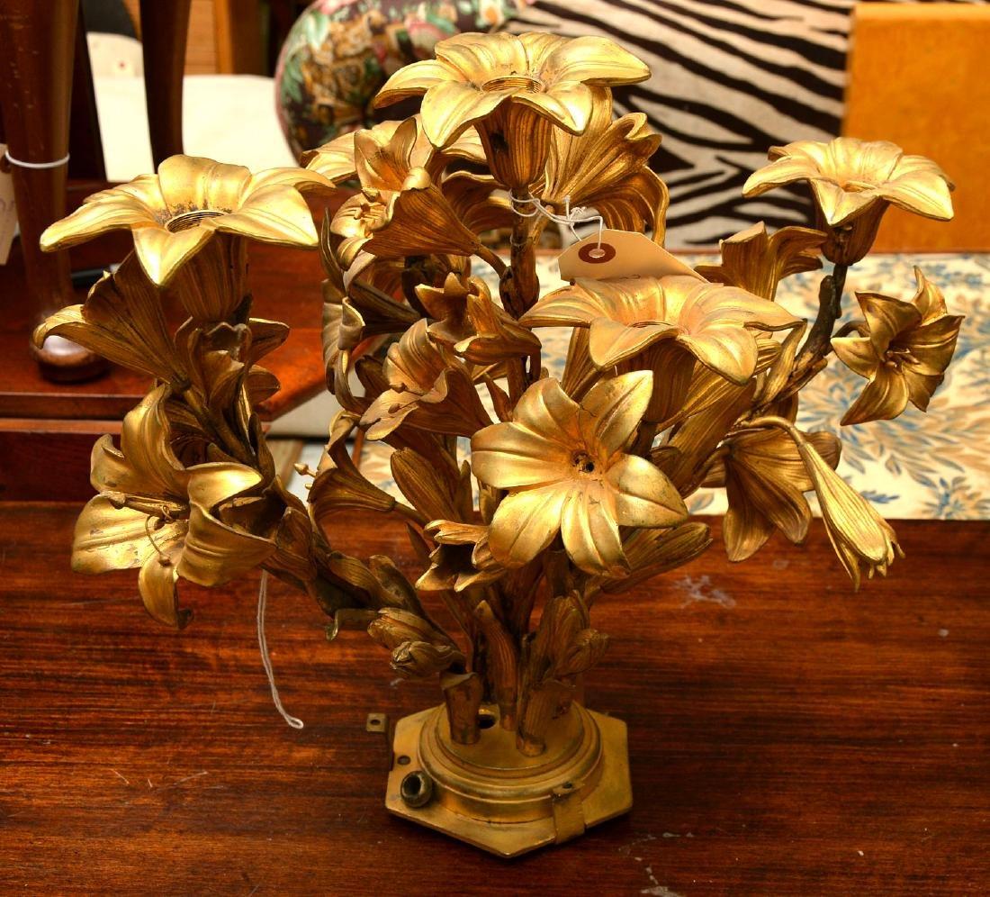 Pair antique gilt bronze floral vase mounts - 5