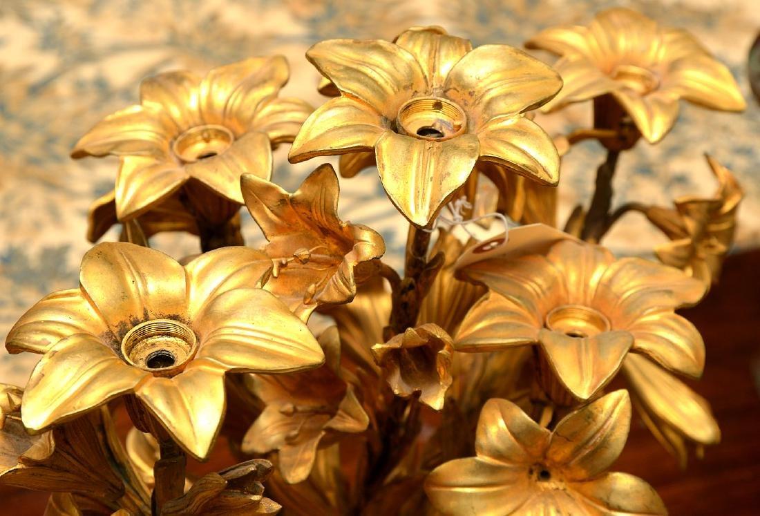 Pair antique gilt bronze floral vase mounts - 6