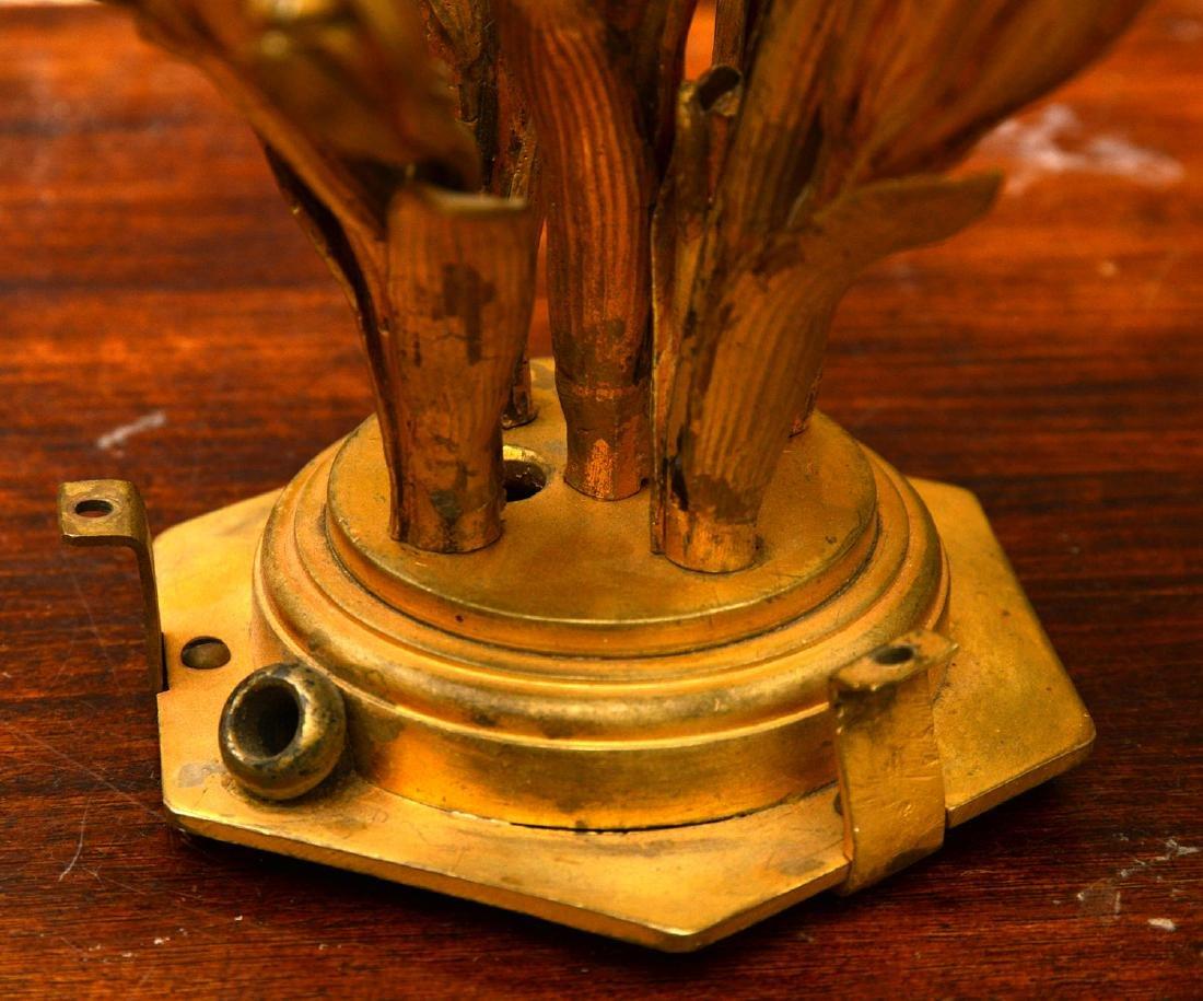 Pair antique gilt bronze floral vase mounts - 7
