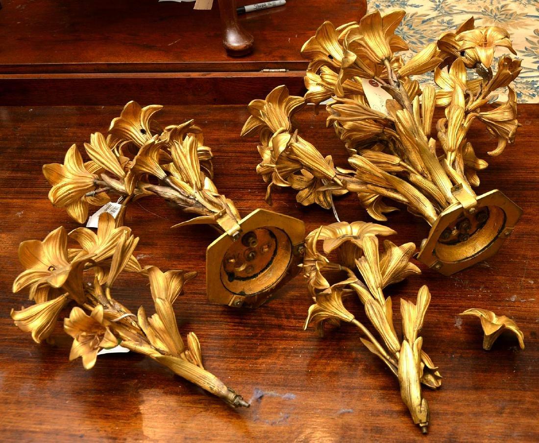 Pair antique gilt bronze floral vase mounts - 9