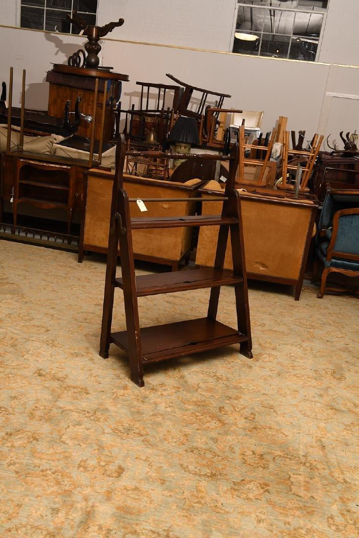 Folding mahogany library steps