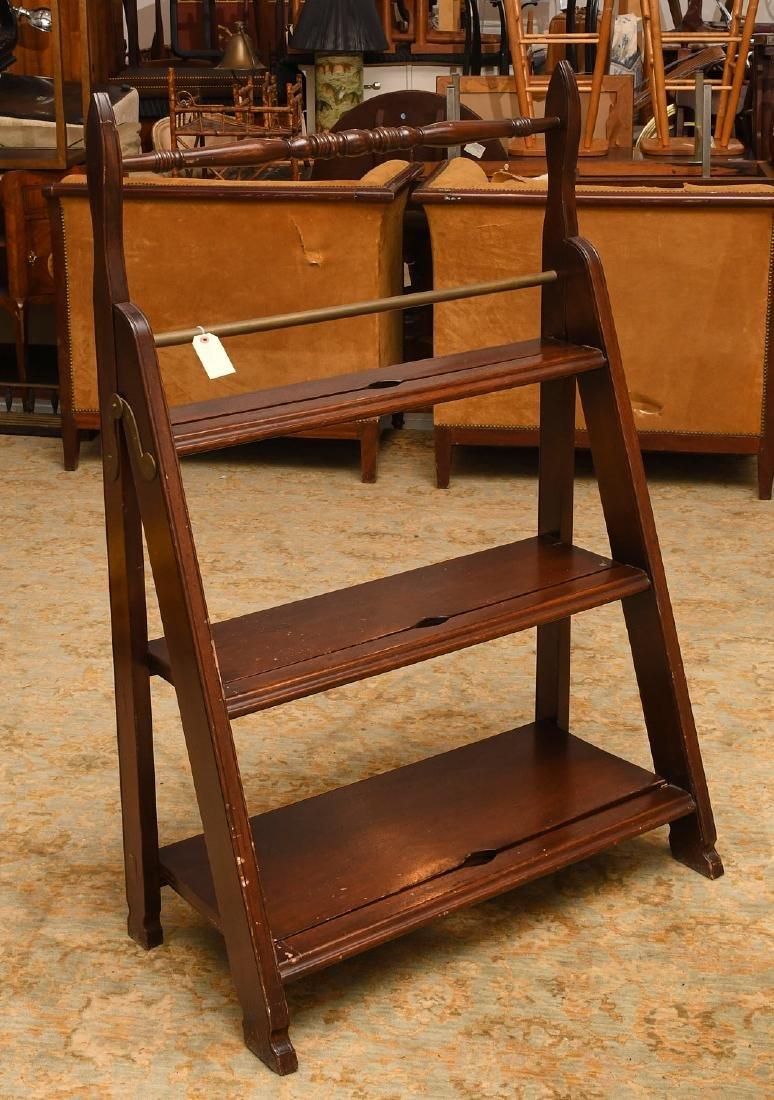 Folding mahogany library steps - 2