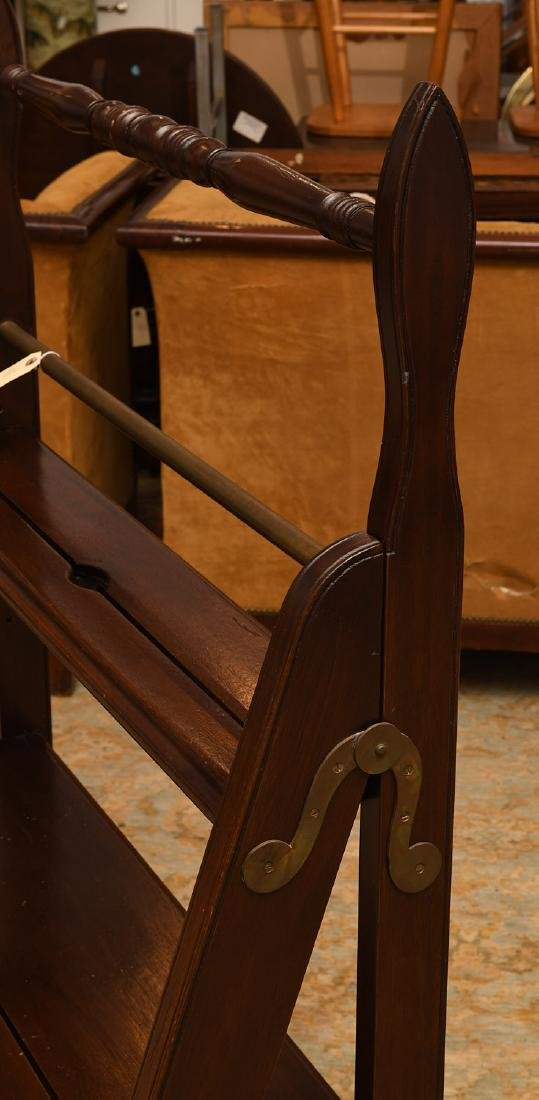 Folding mahogany library steps - 3