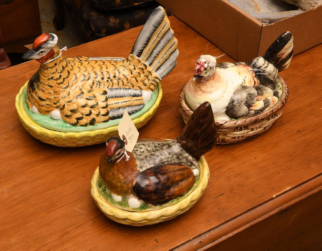 (3) Hen-on-nest porcelain dishs and covers