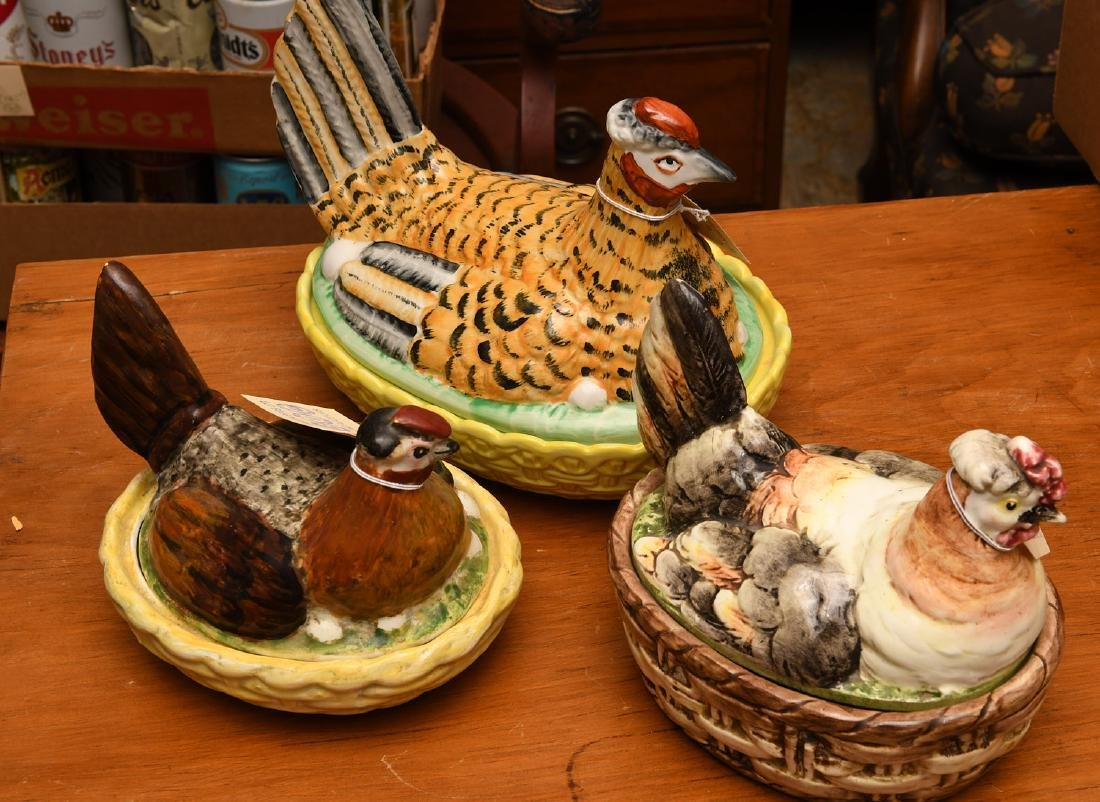 (3) Hen-on-nest porcelain dishs and covers - 3