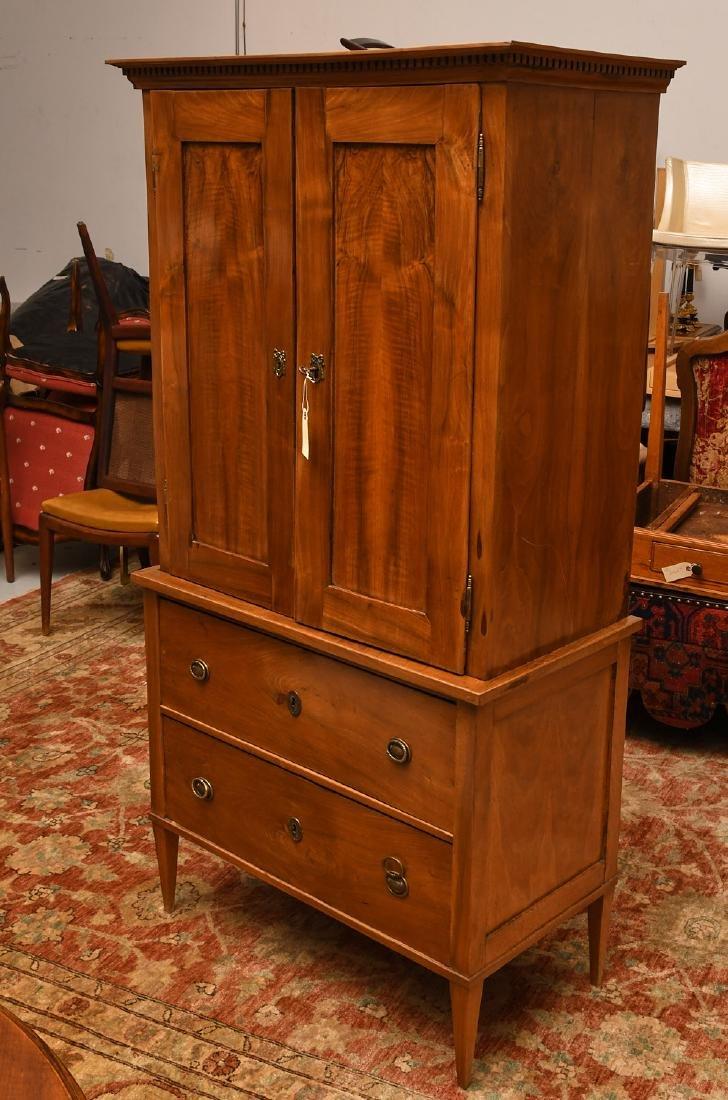 Antique Neo-Classical mahogany linen press