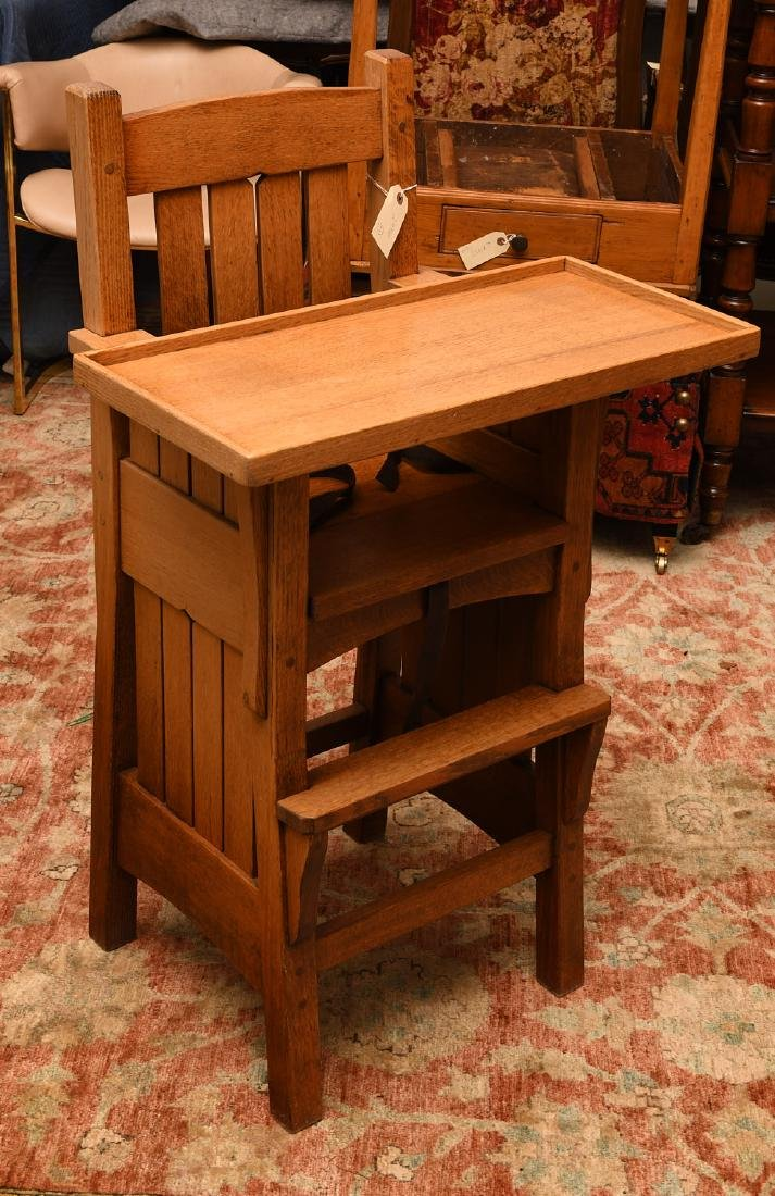 Arts & Crafts style oak high chair