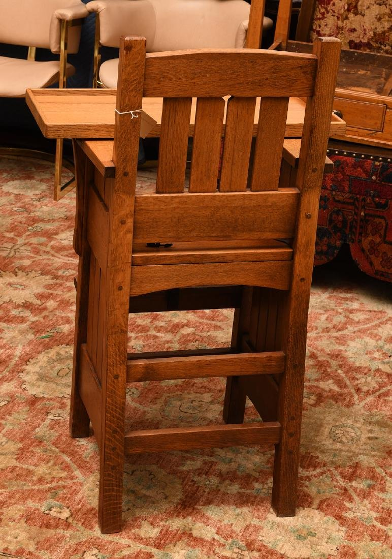 Arts & Crafts style oak high chair - 3