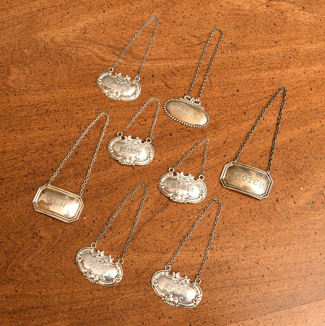 (7) Silver and sterling silver decanter labels