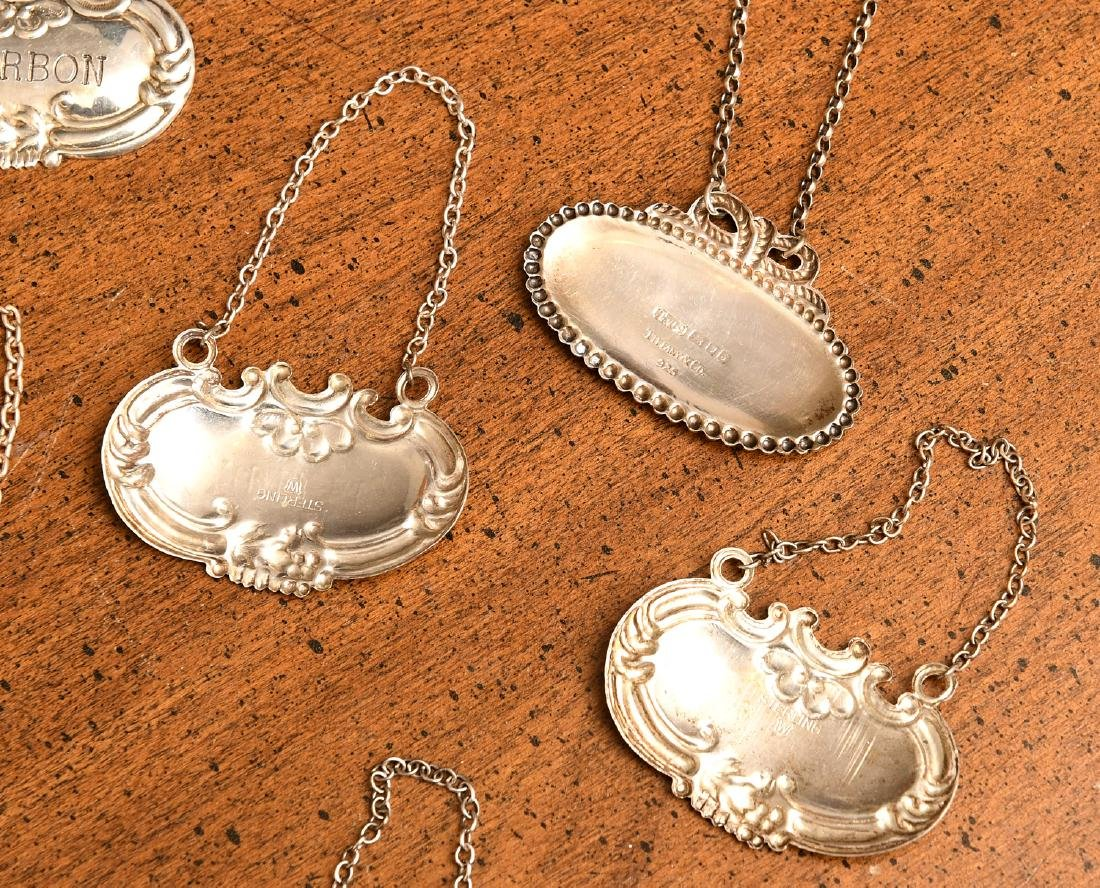 (7) Silver and sterling silver decanter labels - 7